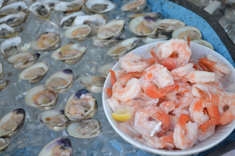 A spread of seafood from Big Rock Oysters, 501 Depot St, Harwich, MA