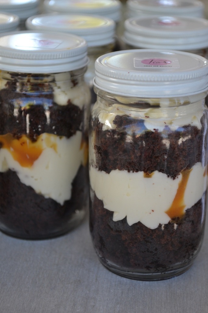 Chocolate caramel cake jars from Tia's Cakes and Pastries, Boston MA